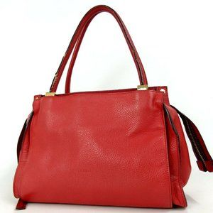 Auth Chloe Dolly Handbag Red Leather #3204C51